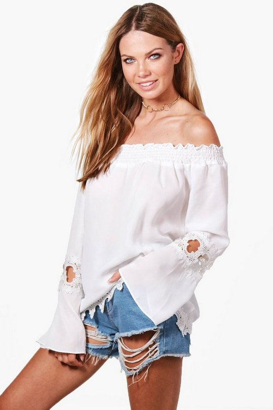 Lily Crochet Trim Off The Shoulder Top