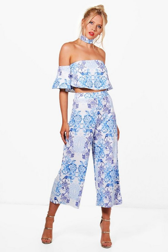 Matie Print Crop & Culotte Co-ord Set