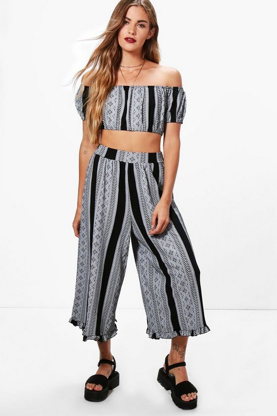 Mai Off Shoulder& Frill Hem Trouser Co-ord