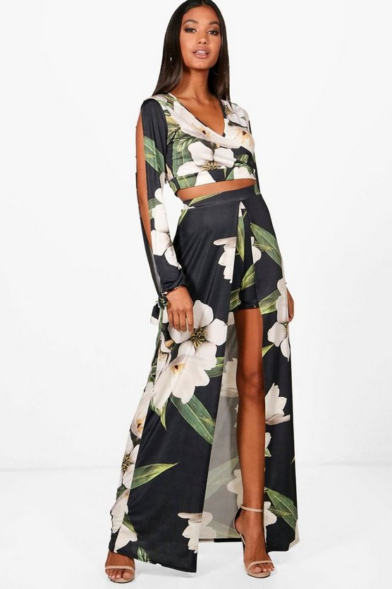 Penny ensemble assorti top court floral et jupe maxi fendue devant