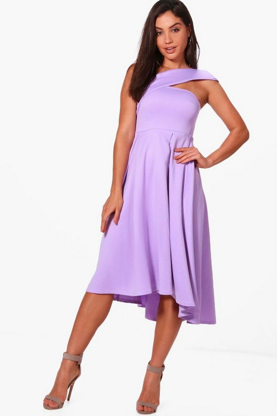 One Shoulder Scuba Midi Skater Dress