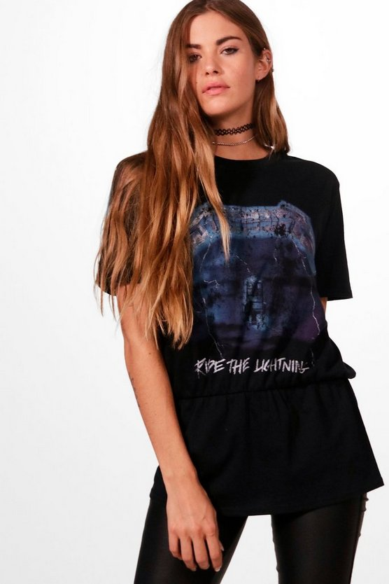Licensed Metallica Washed Elastic Hem Band Tee