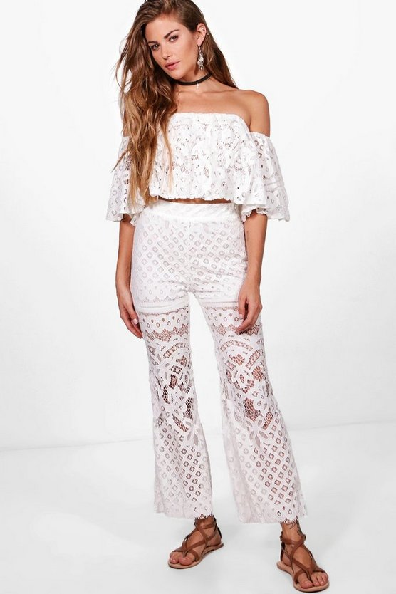 Kimmy Lace Top & Cropped Flared Trousers