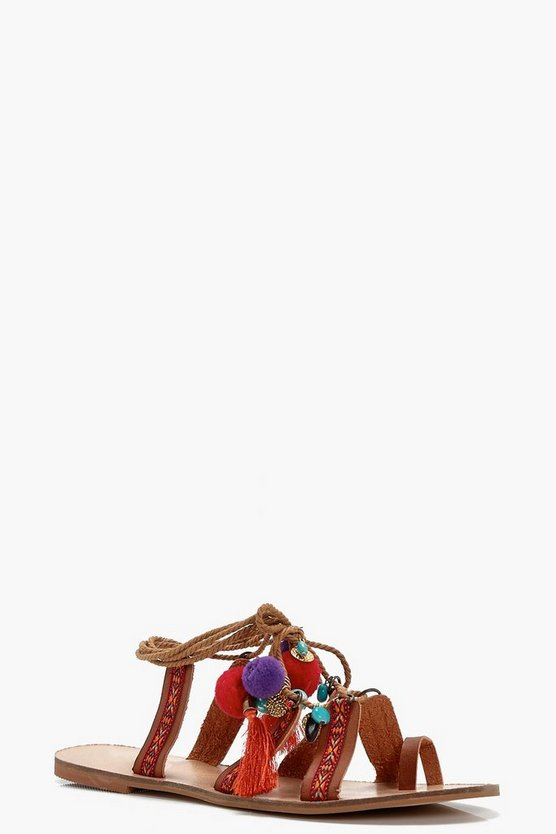 Eloise Pom Pom Ghillie Lace Up Sandals