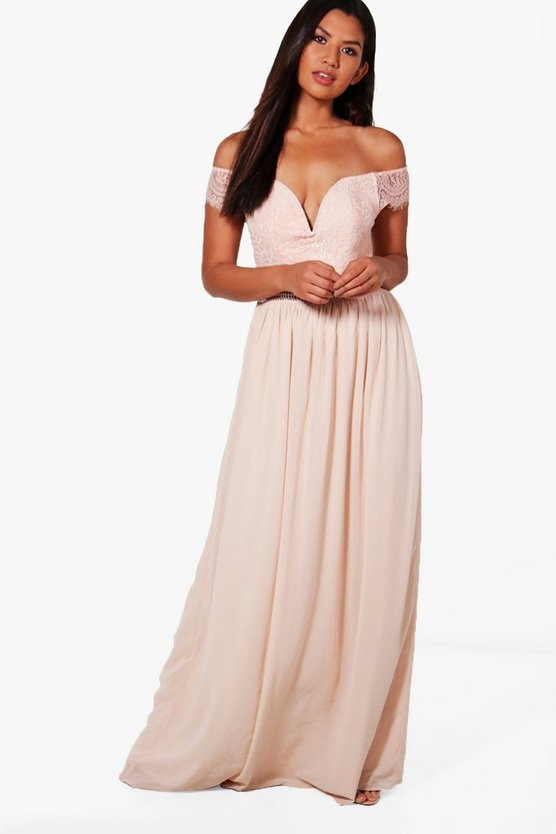 Boutique Lace Off The Shoulder Maxi Dress