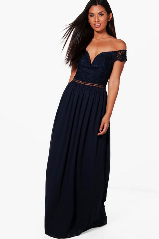 Boutique Rosie Lace Off The Shoulder Maxi Dress