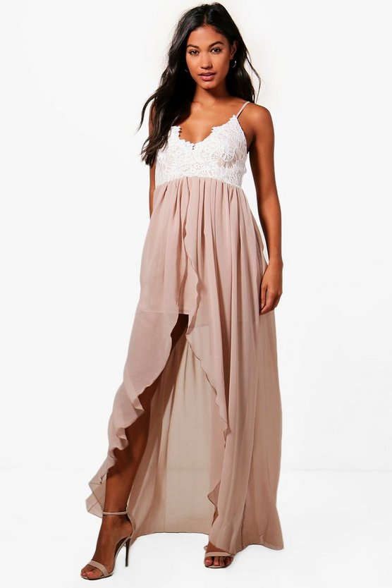 Boutique Lila Strappy Lace Top Chiffon Maxi Dress
