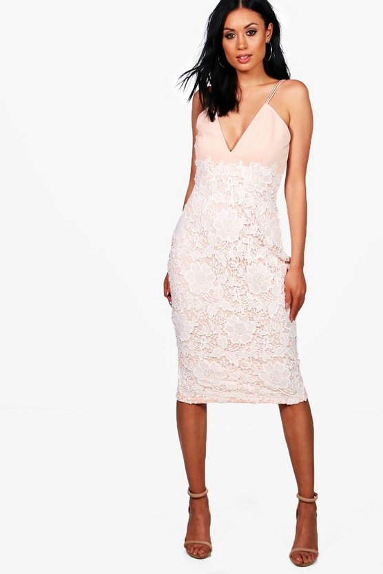 Boutique Millie Lace Skirt Strappy Midi Dress