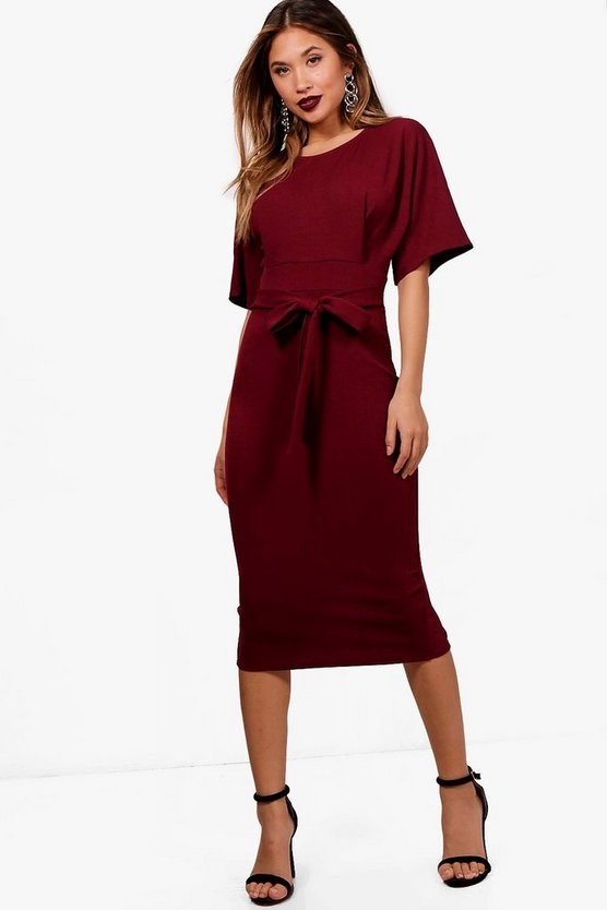 Tie Waist Formal Wiggle Midi Dress