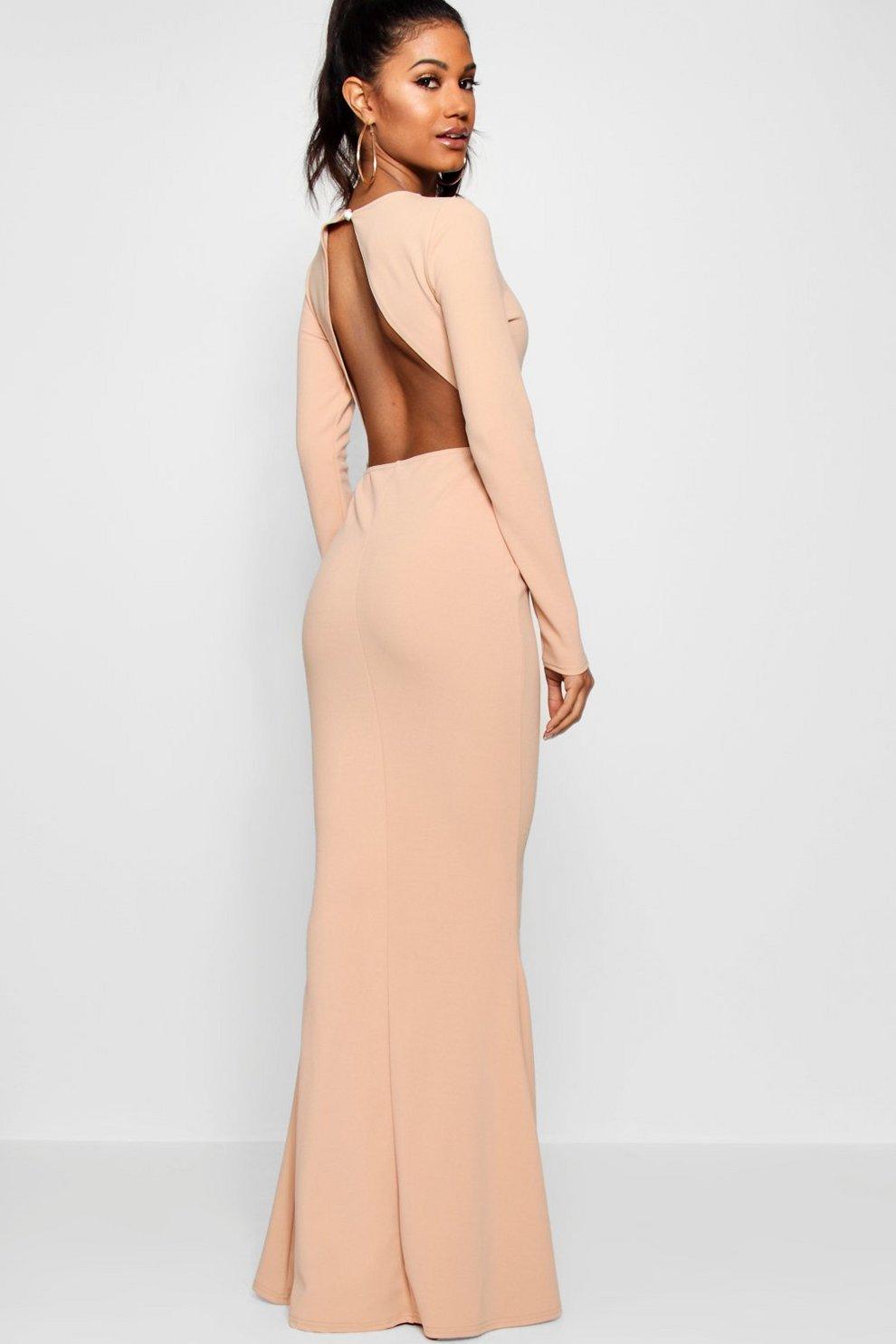 Long Sleeve Open Back Maxi Dress | Boohoo