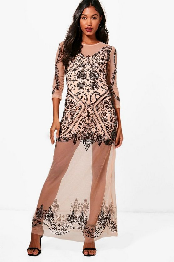 Boutique Kasey Embroidered Maxi Dress