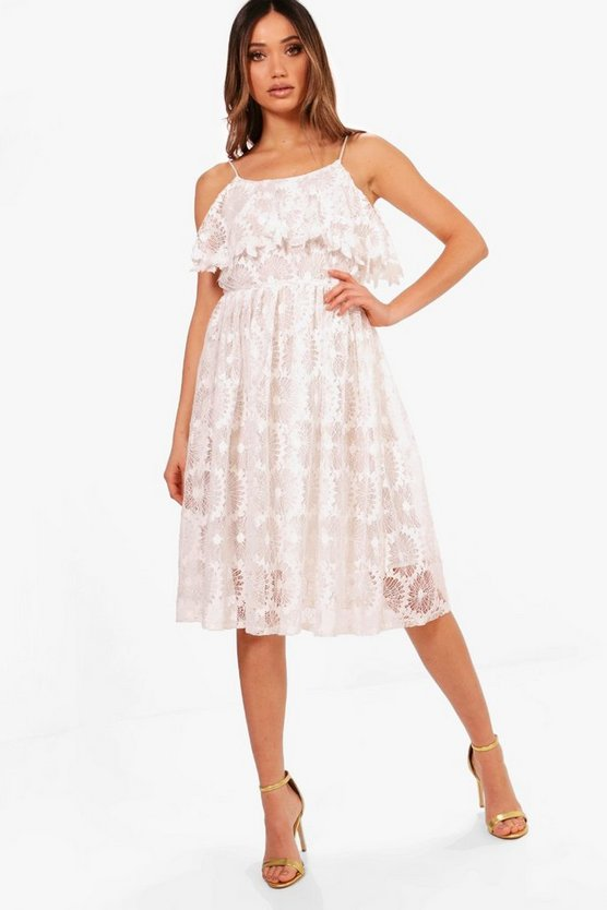 Boutique Lace Frill Full Skater Dress