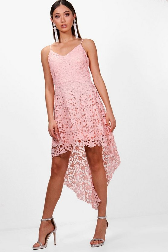 Boutique Lacey Lace Dip Hem Skater Dress