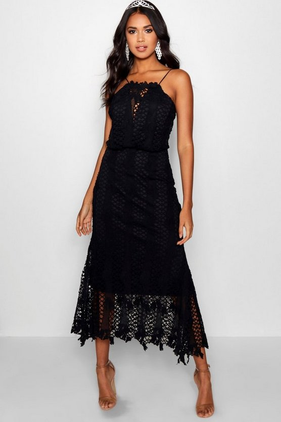 Boutique Joy Lace Flared Hem Midi Dress