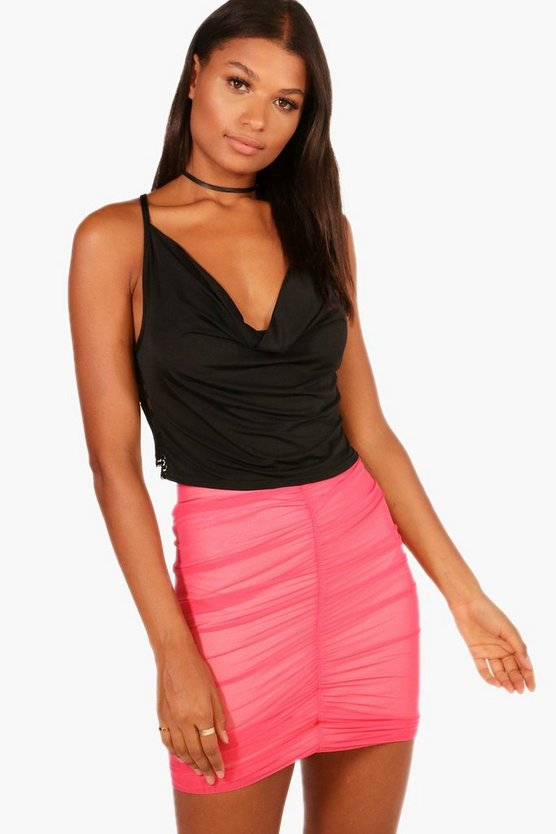 Jayde Rouched Mesh Micro Mini Skirt