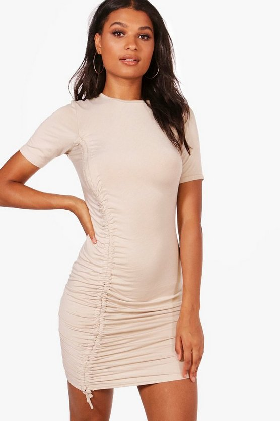 Eva Ruched Tie Cap Sleeve Bodycon Dress