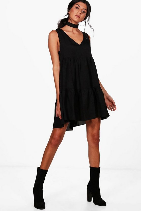 Ella Woven Sleeveless Tiered Smock Dress