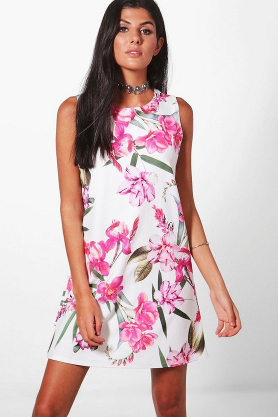 Lexi Large Floral Sleeveless Shift Dress