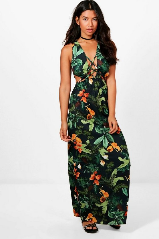 Tia Tropical Print Cut Out Strappy Front Maxi Dress