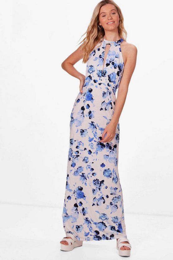 Keyhole Printed Floral Maxi Dress