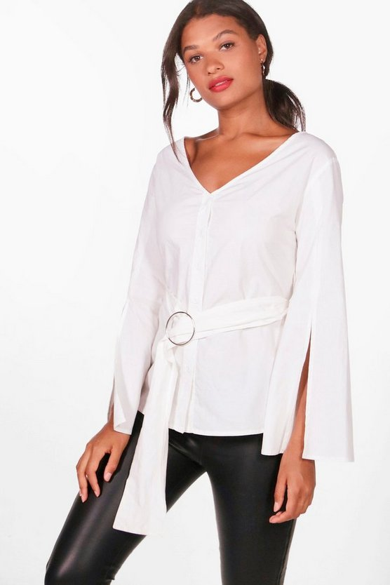 Holly Split Sleeve Belted Shirt