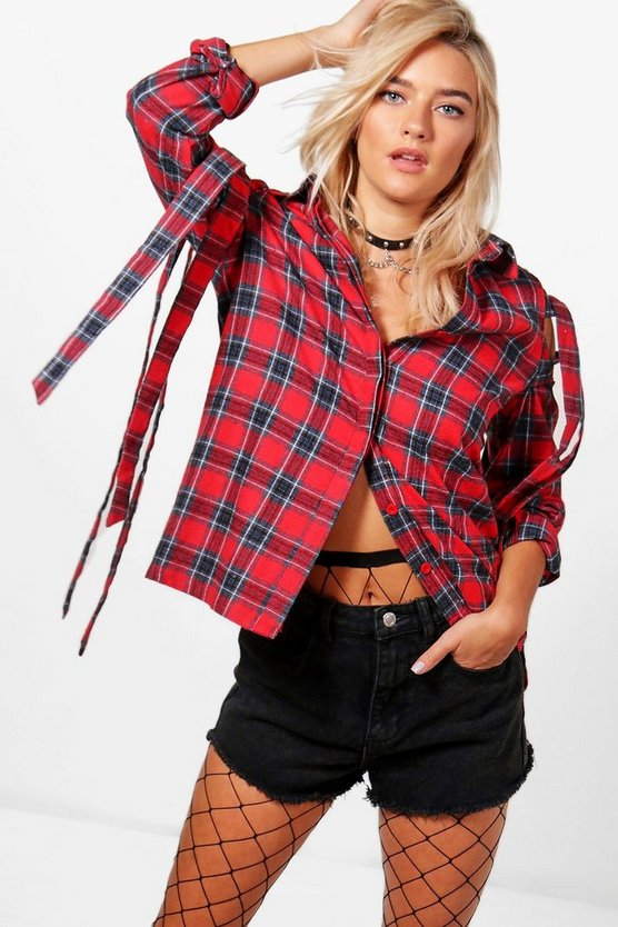 Ella Check Tie Cold Shoulder Shirt