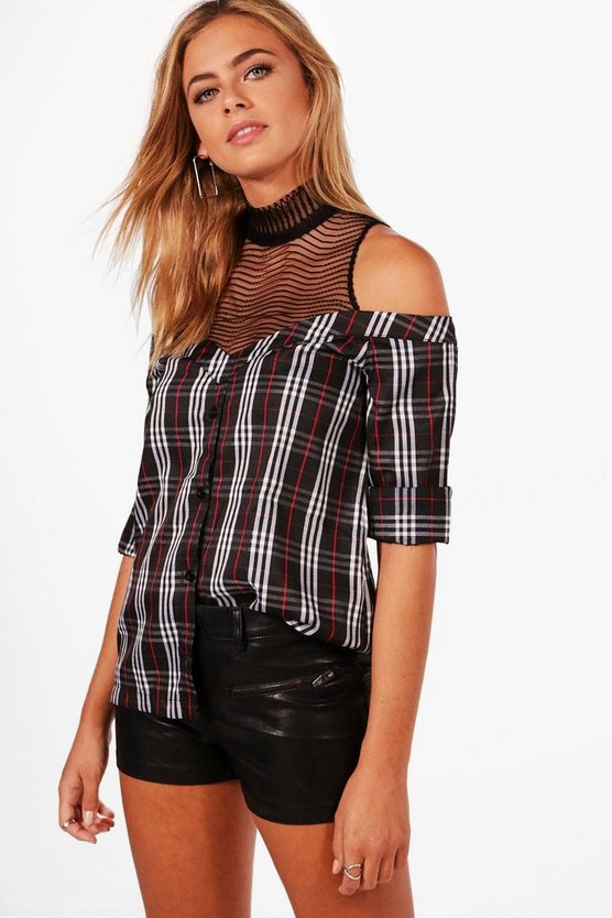 Anna Mesh Insert Off The Shoulder Shirt
