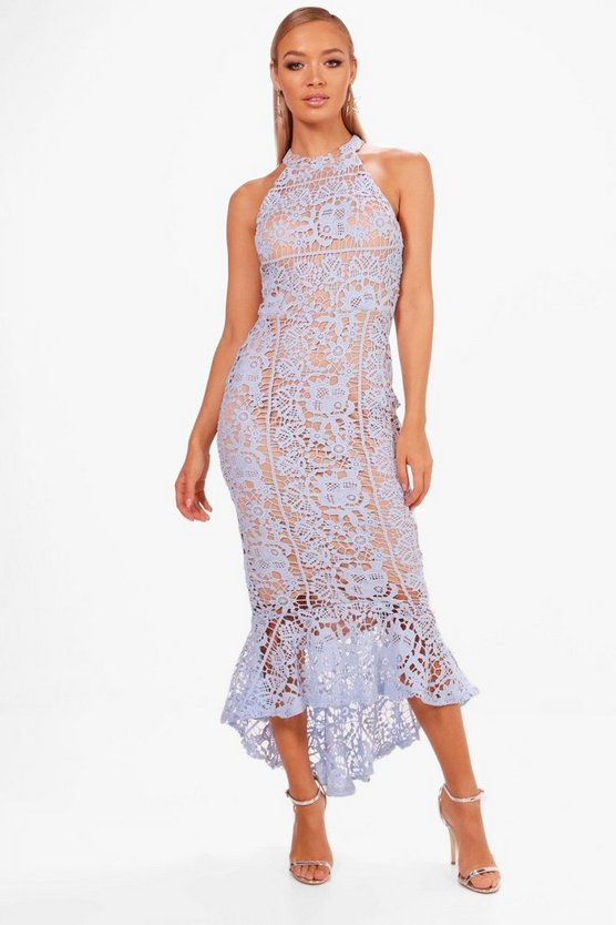 Boutique Elena Lace Frill Hem High Neck Dress by Boohoo
