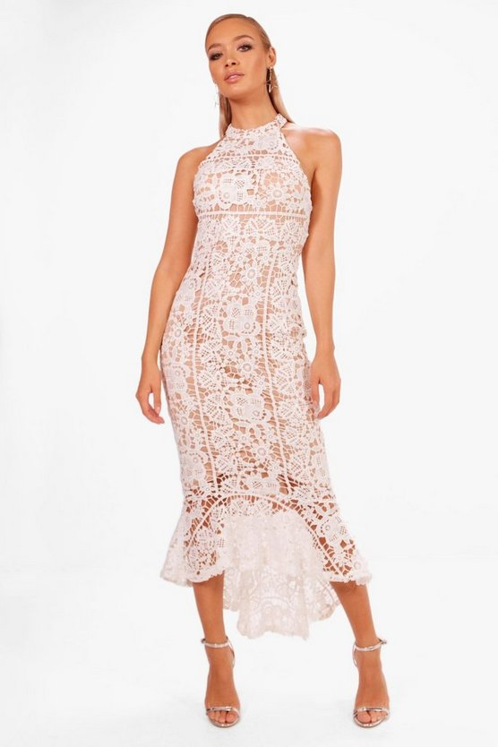Boutique Elena Lace Frill Hem High Neck Dress