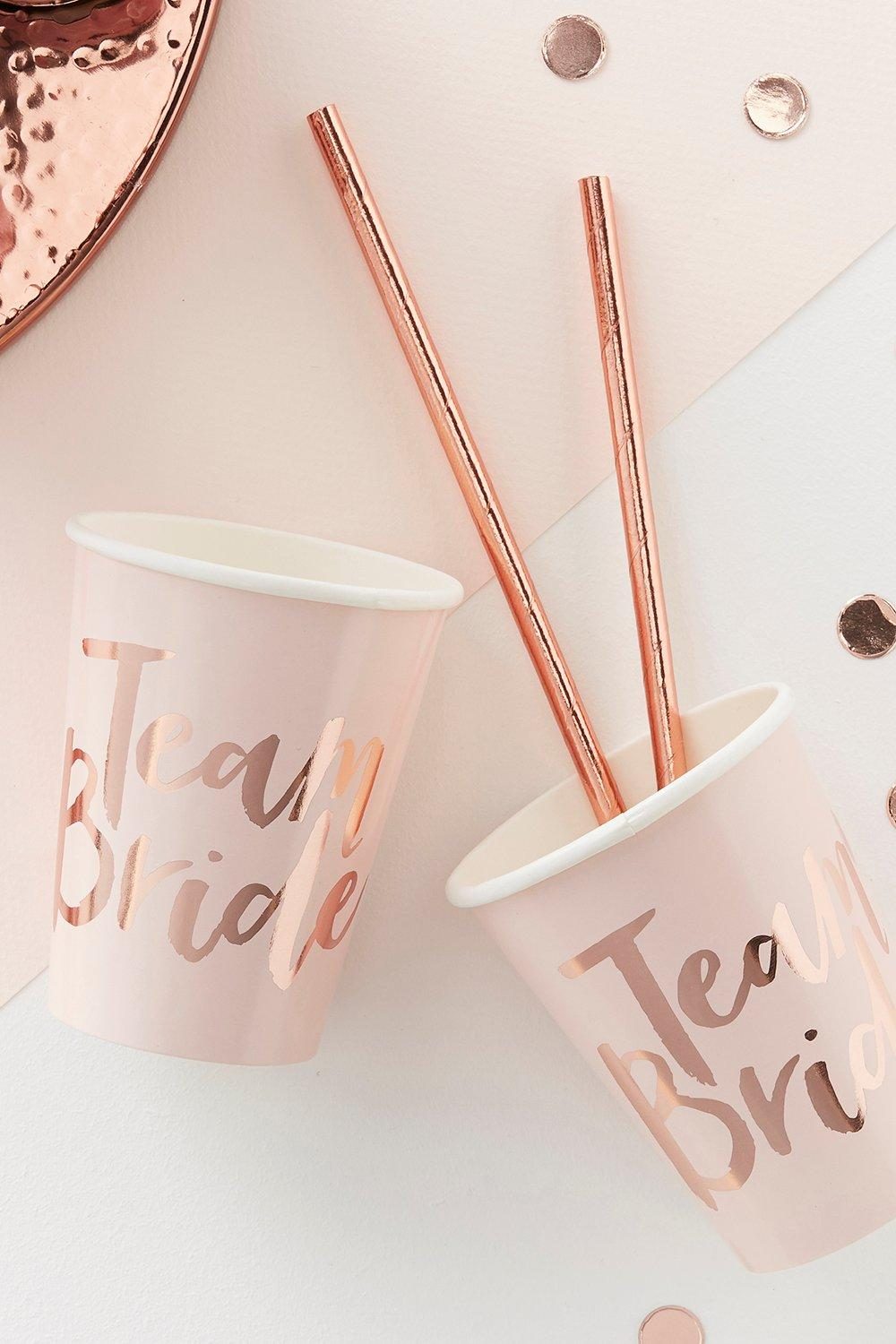 Bride Hen Party Cups 8 Pack - rose gold - Team Bri