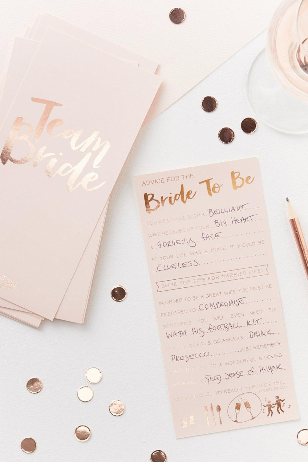 Party Bride Advice Cards 10 Pack - rose gold - Hen