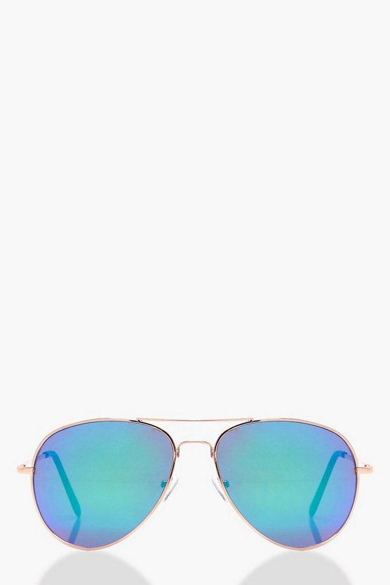 Mia Blue Mirrored Aviator Sunglasses