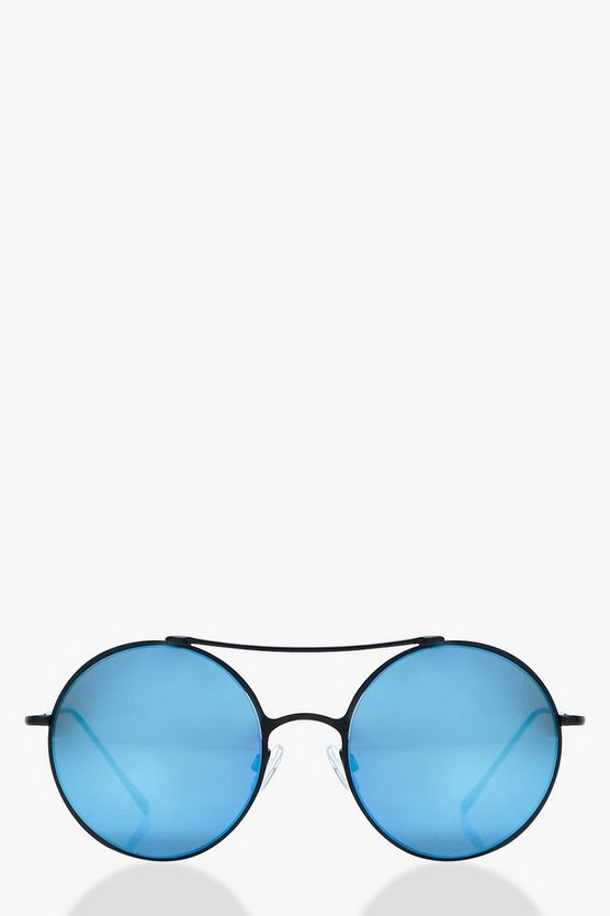 Claire Blue Matte Frame Round Sunglasses