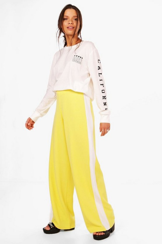 Leona Contrast Panel Wide Leg Relaxed Trousers