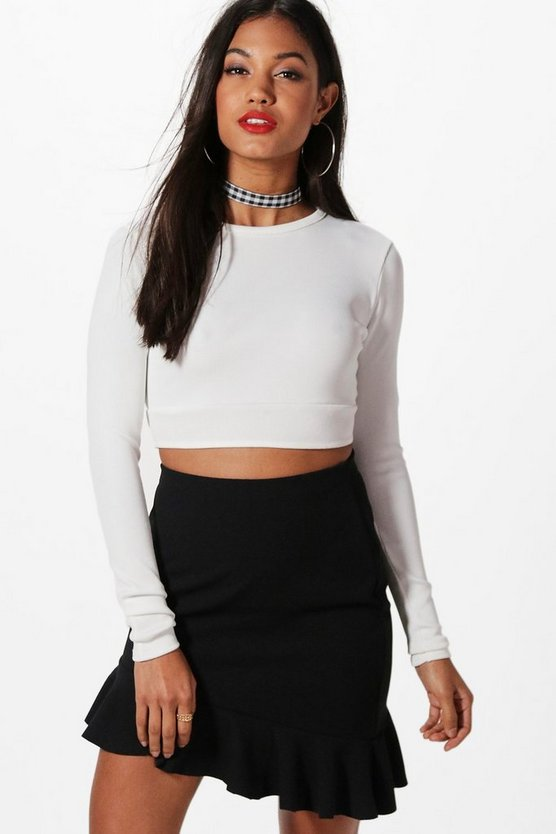 Olivia Asymetric Ruffle Hem Mini Skirt