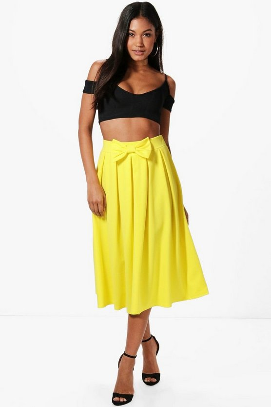 Kaia Bow Front Box Pleat Midi Skirt