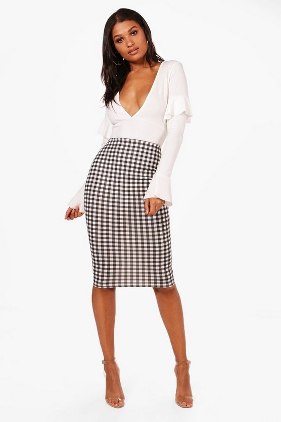 Lucie Gingham Check Midi Skirt