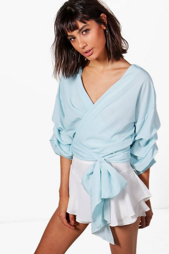 Katie Ruffle Sleeve Wrap Over Shirt