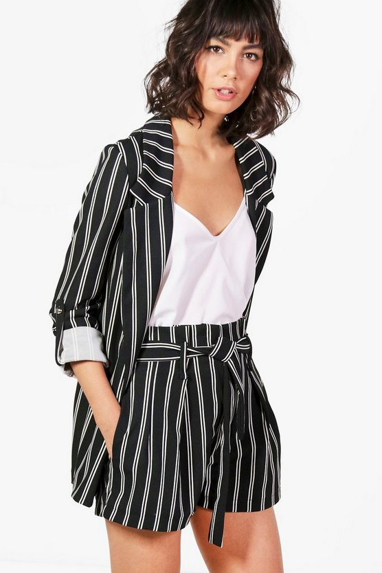 Paige Paperbag Waist Tailored Stripe Short