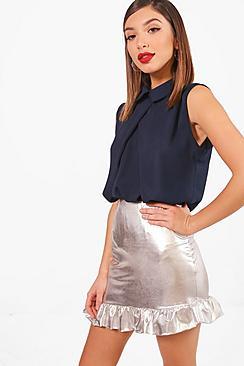 Ärmellose Bluse aus Chiffon - Boohoo.com