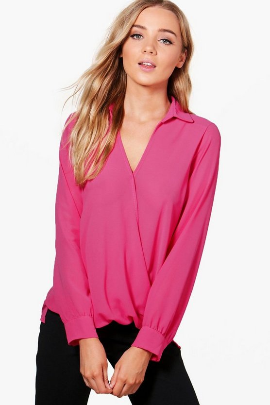 Cara Wrap Over Shirt Blouse
