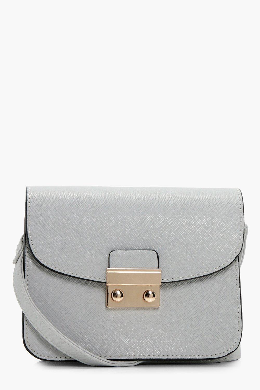 Lock Front Mini Cross Body Bag - grey - Eve Lock F