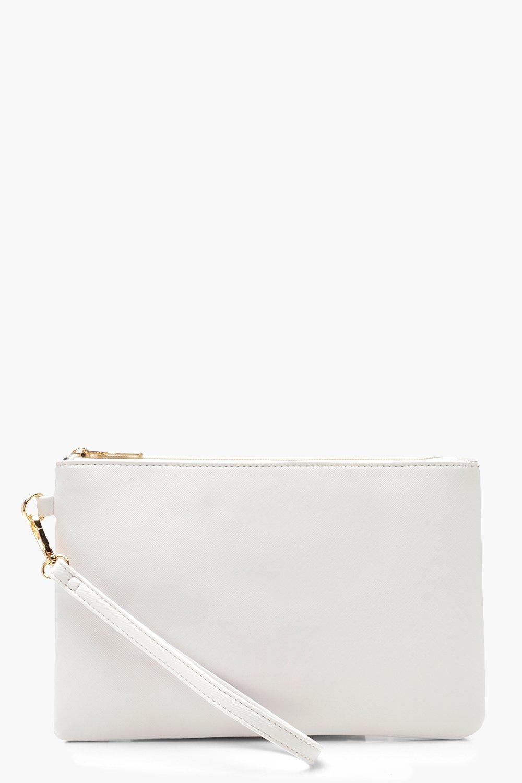 boohoo Womens Cross Hatch Zip Top Clutch Bag - White - One Size, White
