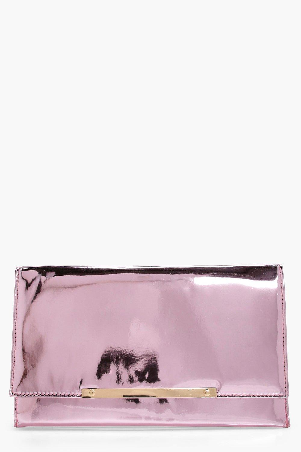 Metal Bar Mirror Clutch - pink - Libby Metal Bar M