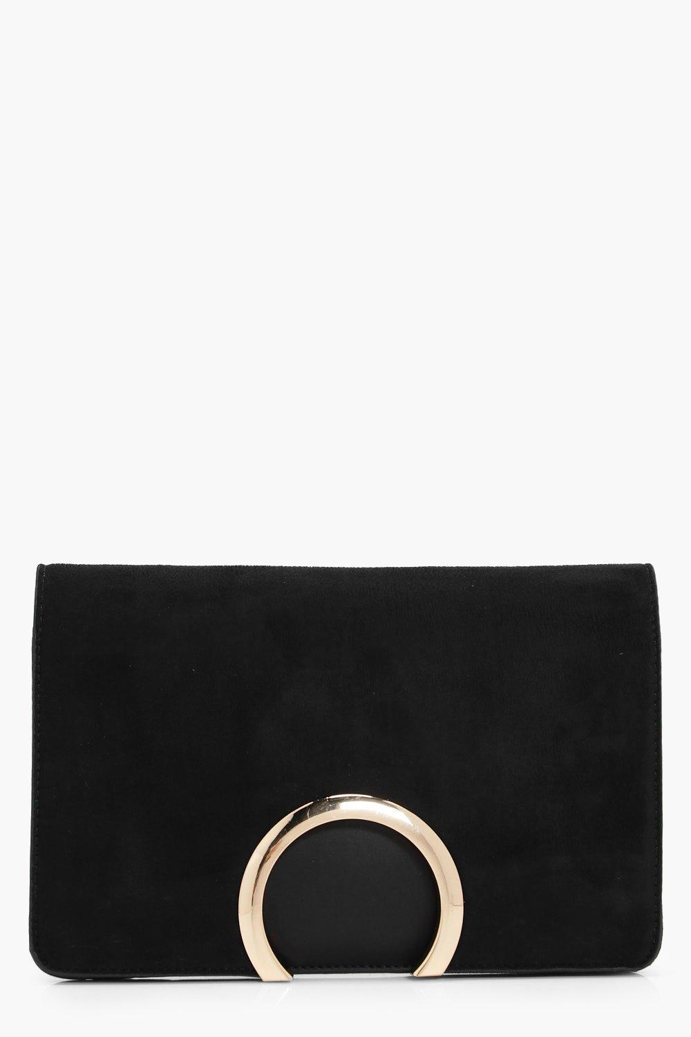 Metal Circle Suedette And PU Mix Clutch - black -