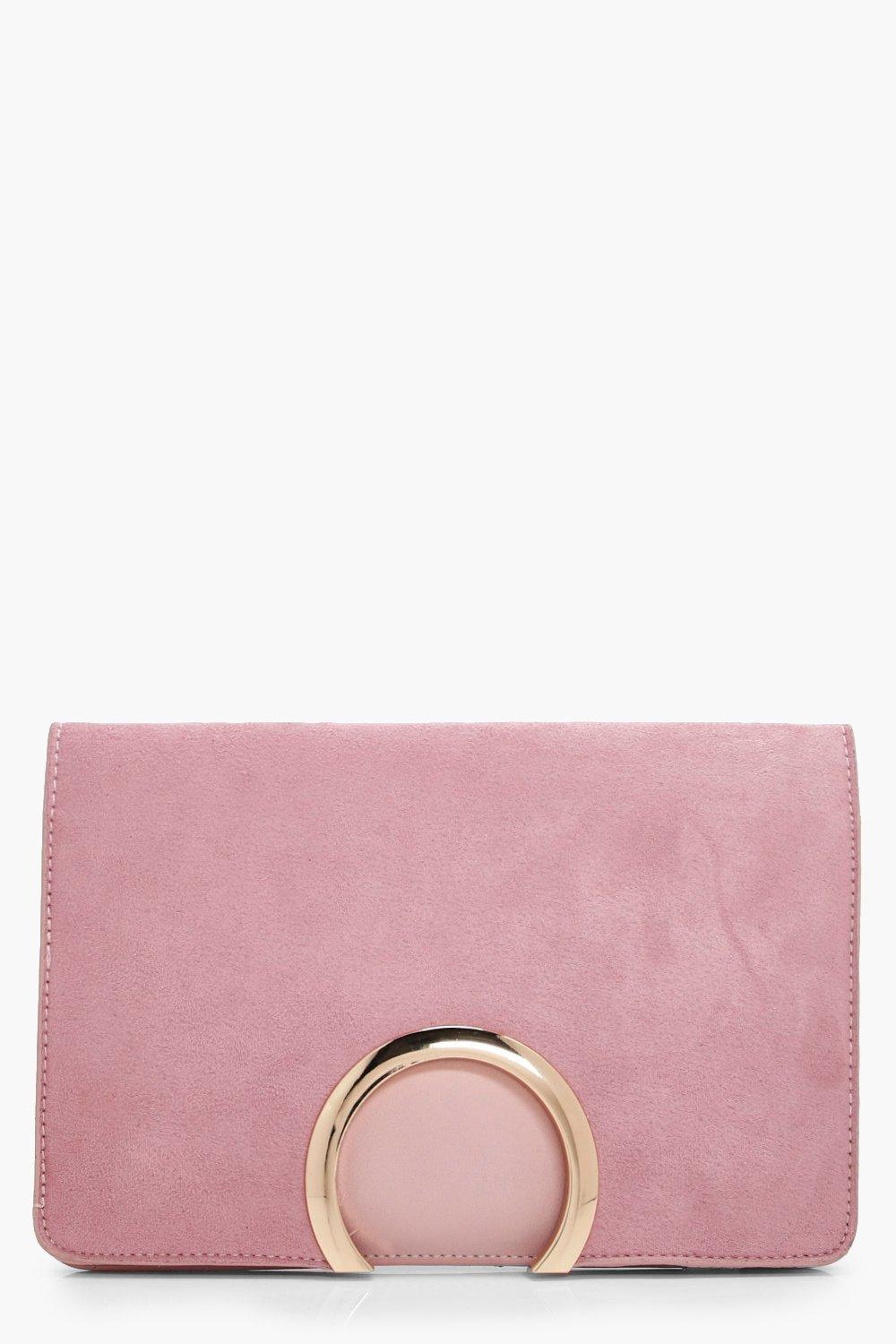 boohoo Womens Metal Circle Suedette & Pu Clutch Bag - Pink - One Size, Pink