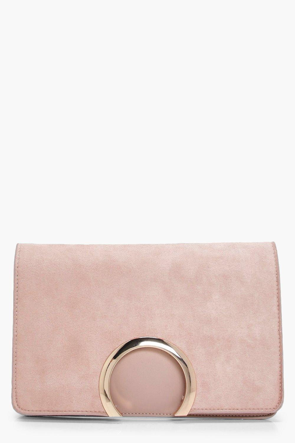 Metal Circle Suedette And PU Mix Clutch - taupe -