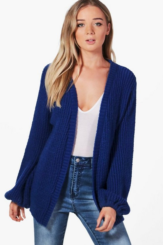Emily Blouson Sleeve Soft Knit Cardigan