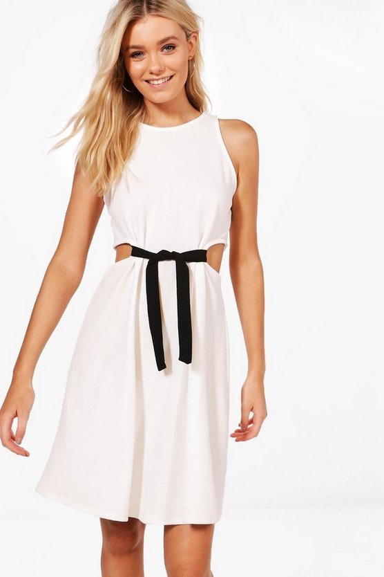 Hanna Cut Out Tie Detail Skater Dress