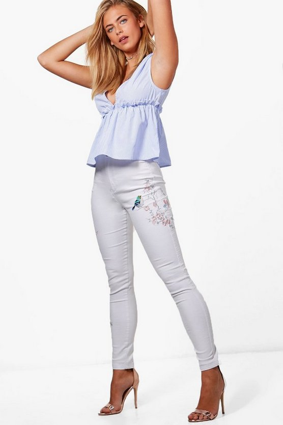 Lara High Rise Embroidered Tube Jeans